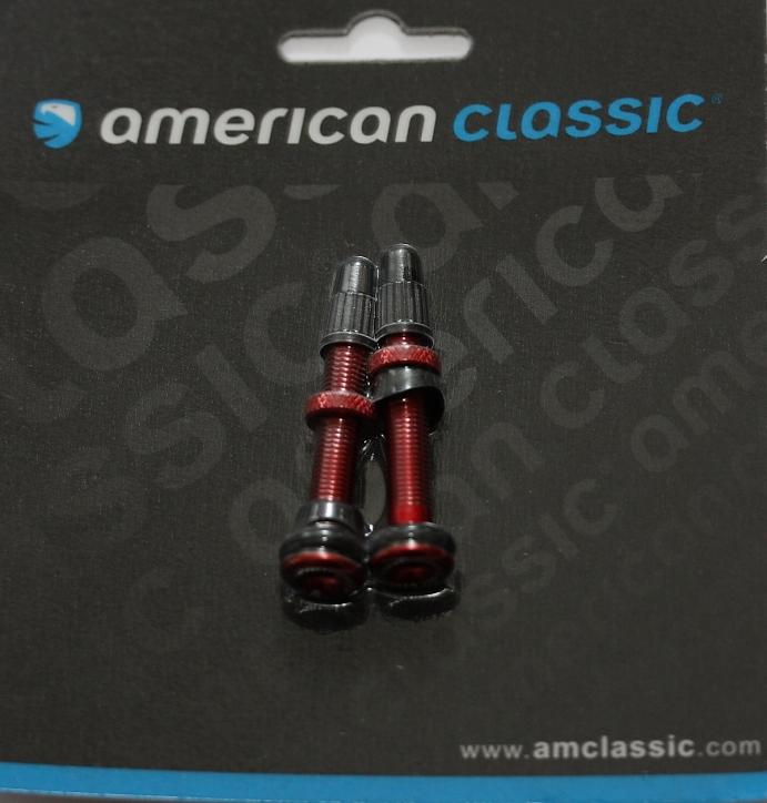 Reifen, Schläuche & Laufräder 2 Schlauchlosventile von American Classic in rot eloxiert 36 mm oder 46 mm